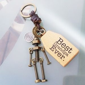 Best grandpa ever screw robot keychain